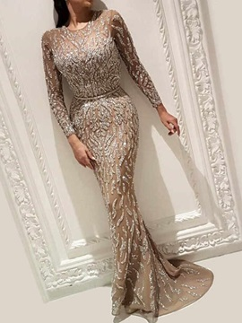 Sequins Round Neck Floor-Length Summer Trumpet Women's Dress
