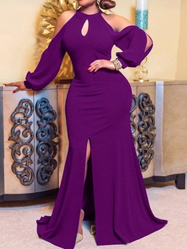 Floor-Length Split Long Sleeve Fall Trumpet Women's Dress