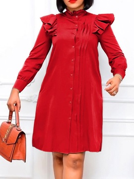 Stand Collar Long Sleeve Button Single-Breasted Sweet Women's Dress