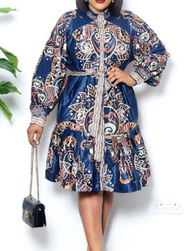 Plus Size Mid-Calf Long Sleeve Patchwork Summer Pullover Women's Dress