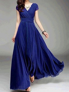 Short Sleeve V-Neck Floor-Length Sweet Plain Women's Dress