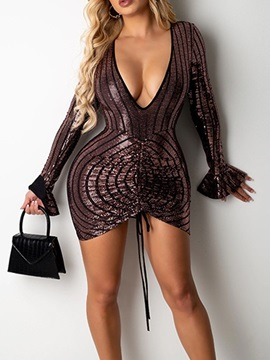 Lace-Up V-Neck Long Sleeve Bodycon Sexy Women's Dress