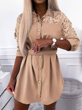 Three-Quarter Sleeve Above Knee Lapel Casual Single-Breasted Women's Dress