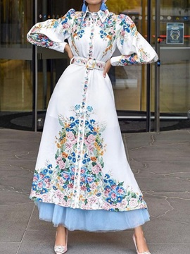 Ankle-Length Long Sleeve Patchwork Single-Breasted Spring Women's Dress
