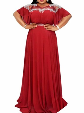 Plus Size Round Neck Patchwork Floor-Length Pullover Fall Women's Dress