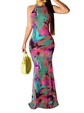 Floor-Length Print Sleeveless Pullover Fall Women's Dress