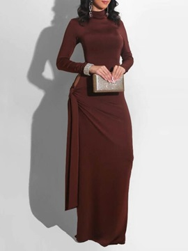 Floor-Length Turtleneck Long Sleeve Pullover Fall Women's Dress