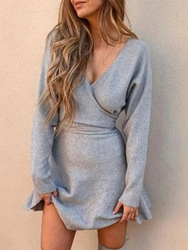 V-Neck Above Knee Long Sleeve Pullover Fashion Women's Dress
