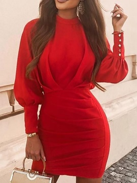 Stand Collar Pleated Nine Points Sleeve Bodycon Pullover Women's Dress