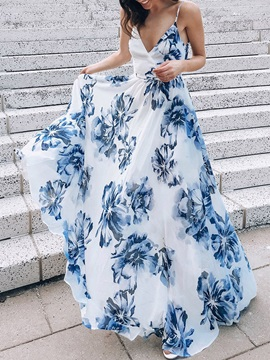 Floor-Length Sleeveless V-Neck Floral Pullover Women's Dress