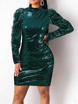 Sequins Above Knee Long Sleeve Sexy Bodycon Women's Dress