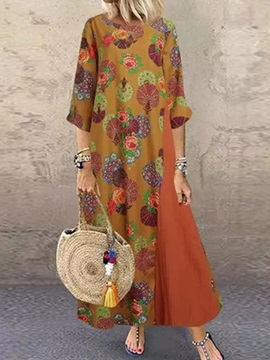 Print Ankle-Length Round Neck Vintage Pullover Women's Dress