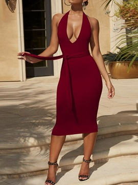 Backless Sleeveless Mid-Calf Bodycon Pullover Women's Dress