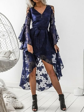 V-Neck Long Sleeve Ankle-Length Fashion Summer Women's Dress