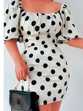 Square Neck Patchwork Above Knee Pullover Polka Dots Women's Dress