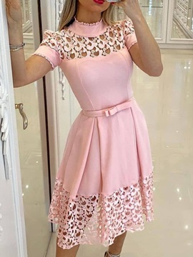 Mid-Calf Stand Collar Hollow Plain Sweet Women's Dress