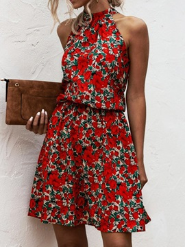 Print Stand Collar Above Knee Fashion A-Line Women's Floral Midi Dress