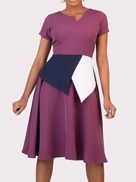 Mid-Calf Short Sleeve Pleated A-Line Pullover Women's Dress