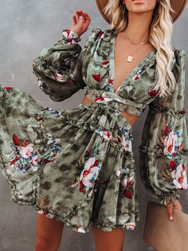 Backless Long Sleeve Above Knee Color Block Pullover Women's Floral Midi Dress