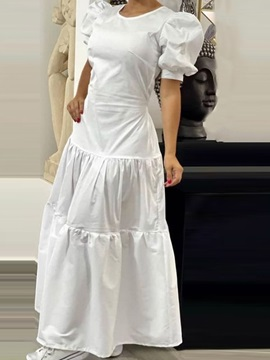 Ankle-Length Patchwork Short Sleeve Summer Plain Women's Dress