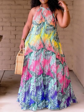Plus Size Floor-Length Sleeveless Print Plant Summer Women's Dress