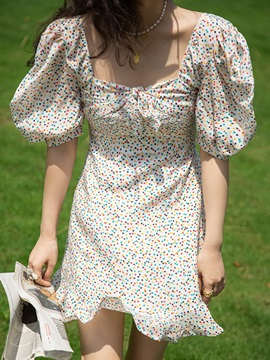Patchwork Above Knee Square Neck Polka Dots Pullover Women's Floral Midi Dress