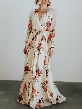 Print Long Sleeve Floor-Length Expansion Pullover Women's Floral Maxi Dress