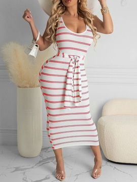Scoop Lace-Up Mid-Calf Office Lady Bodycon Women's Dress
