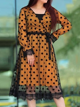 V-Neck Long Sleeve Lace-Up Regular Polka Dots Women's Dress