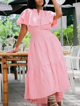 Ankle-Length Short Sleeve Stand Collar Summer Fashion Women's Dress