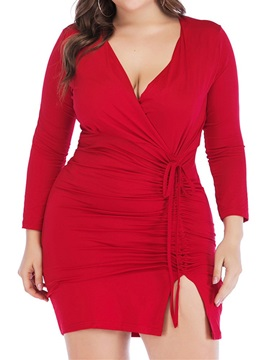V-Neck Above Knee Split Regular Bodycon Women's Dress
