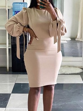 Long Sleeve Knee-Length Lace-Up Pullover Summer Women's Dress