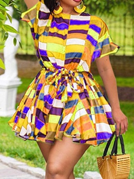 Plus Size Lace-Up Above Knee Short Sleeve A-Line Summer Women's Dress