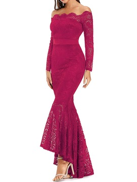Lace Long Sleeve Floor-Length Fashion Pullover Women's Dress