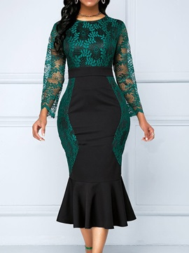 Lace Round Neck Mid-Calf Formal Mermaid Women's Dress