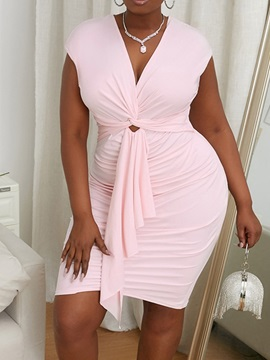 Pleated Knee-Length Short Sleeve Office Lady Pullover Women's Dress