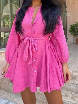 Long Sleeve Button Above Knee Single-Breasted Plain Women's Dress