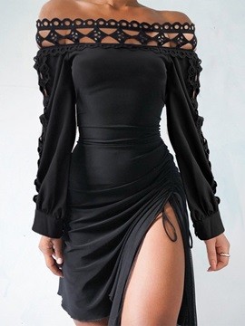 Lace-Up Long Sleeve Off Shoulder Bodycon Pullover Women's Dress