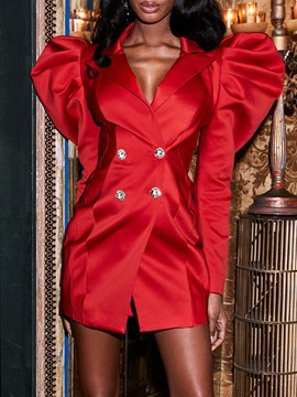 Above Knee Long Sleeve Notched Lapel Bodycon Fall Women's Dress