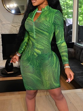 Above Knee See-Through Long Sleeve Bodycon Sexy Women's Dress