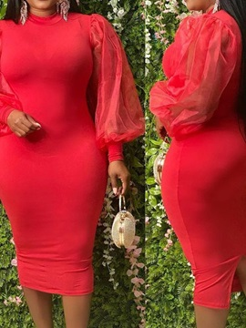 Plus Size Stand Collar Mid-Calf Long Sleeve Pullover Bodycon Women's Dress