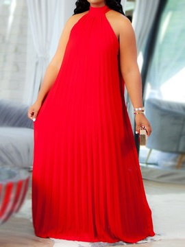Plus Size Sleeveless Stand Collar Pleated Pullover Plain Women's Dress