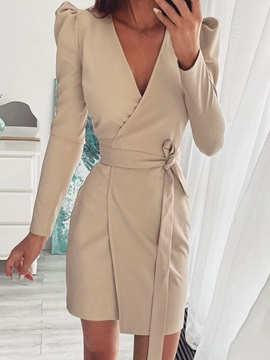 Lace-Up Long Sleeve V-Neck Summer Bodycon Women's Dress