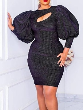 Above Knee Nine Points Sleeve Round Neck Fall Pullover Women's Dress