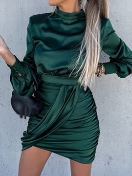 Above Knee Stand Collar Pleated Spring Fashion Women's Dress