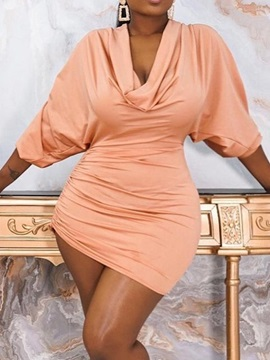 Three-Quarter Sleeve Above Knee Pleated Bodycon Pullover Women's Dress