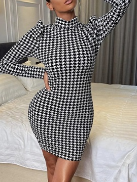 Stand Collar Above Knee Long Sleeve Houndstooth Pullover Women's Dress