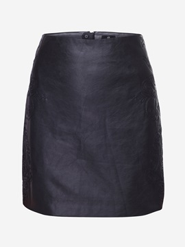 Black Slim Sensual Embroidery Sheath Women Skirt