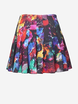 Black Printed Designer Style Soft Slim Pleated Skirt