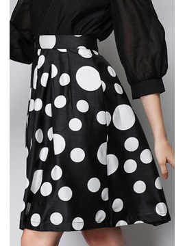 Contrast Color Polka Dots Skirt